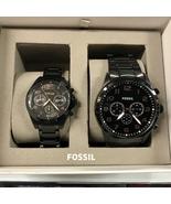 New FOSSIL BQ2278SET Black Grant Black Stainless Steel - Men Women Coupl... - $245.00