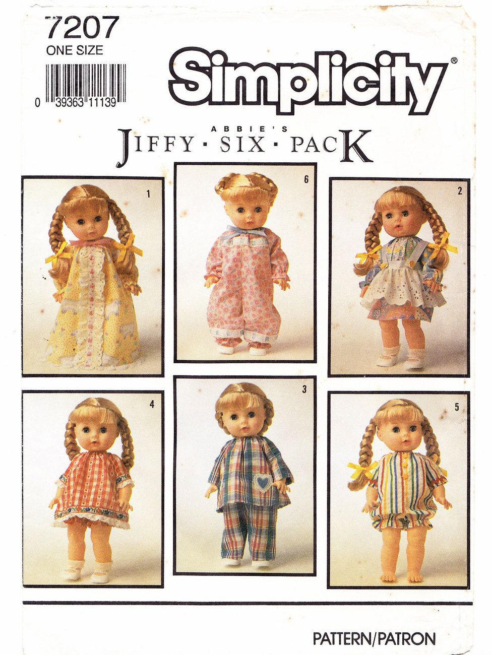 "Primary image for DOLL MAKING CLOTHES PATTERN SIMPLICITY 7207 DOLLS 13"" TO 15"""