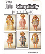 "DOLL MAKING CLOTHES PATTERN SIMPLICITY 7207 DOLLS 13"" TO 15"" - $5.95"