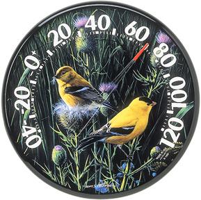 """12.5"""" Indoor Outdoor GOLDFINCH Bird Hanging Thermometer"""