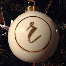 Letter R in Gold on Off White Ceramic Monogram Ornament