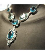 Sterling Silver Necklace Blue Topaz Setting - $159.00