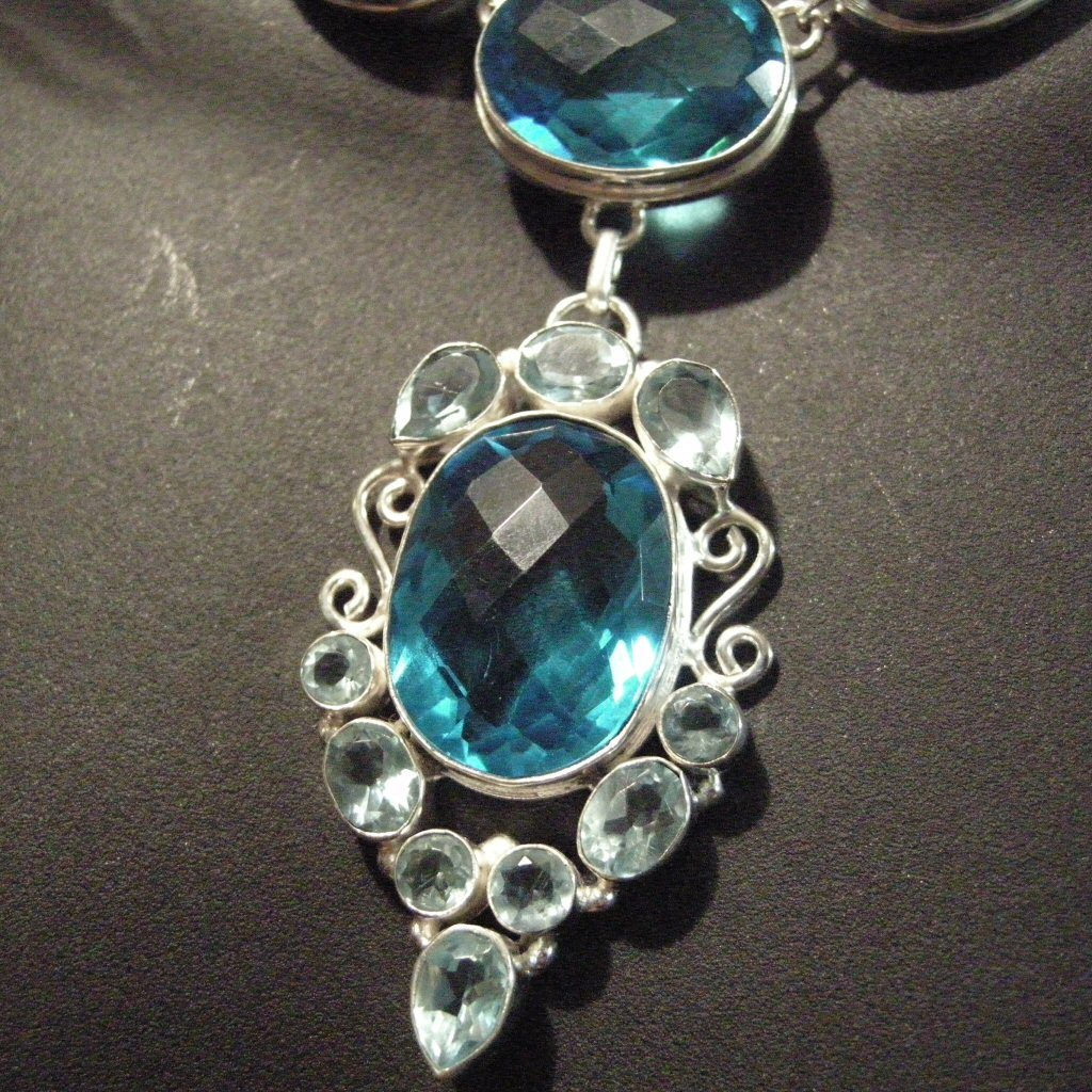 Sterling Silver Necklace Blue Topaz Setting