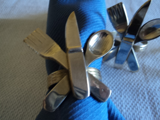 Vintage Four Brass Knife, Fork and Spoon Napkin Rings