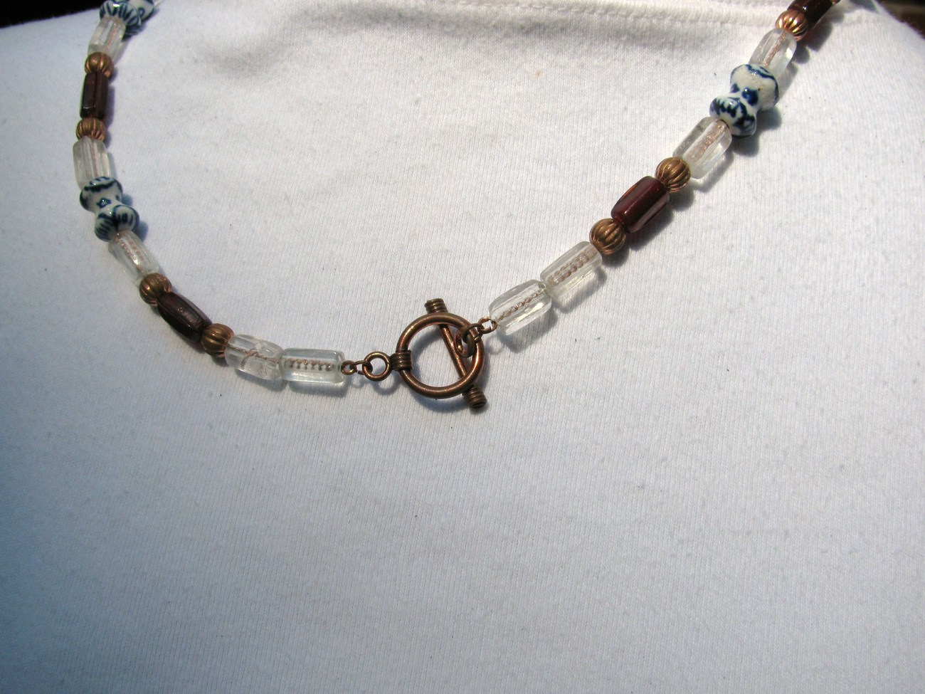 Copper Necklace with Glass and Ceramic Beads RKM169