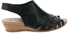 Earth Leather Perforated Wedge Sandals- Pisa Galli Black 7W NEW A346894 - $63.34