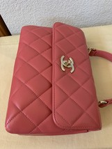 AUTH CHANEL QUILTED LAMBSKIN CORAL PINK TRENDY CC 2 WAY HANDLE FLAP BAG GHW image 9
