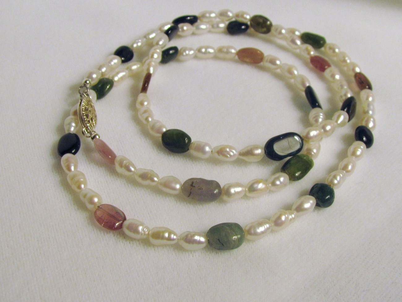 Freshwater Pearl and Tourmaline Necklace RKS88