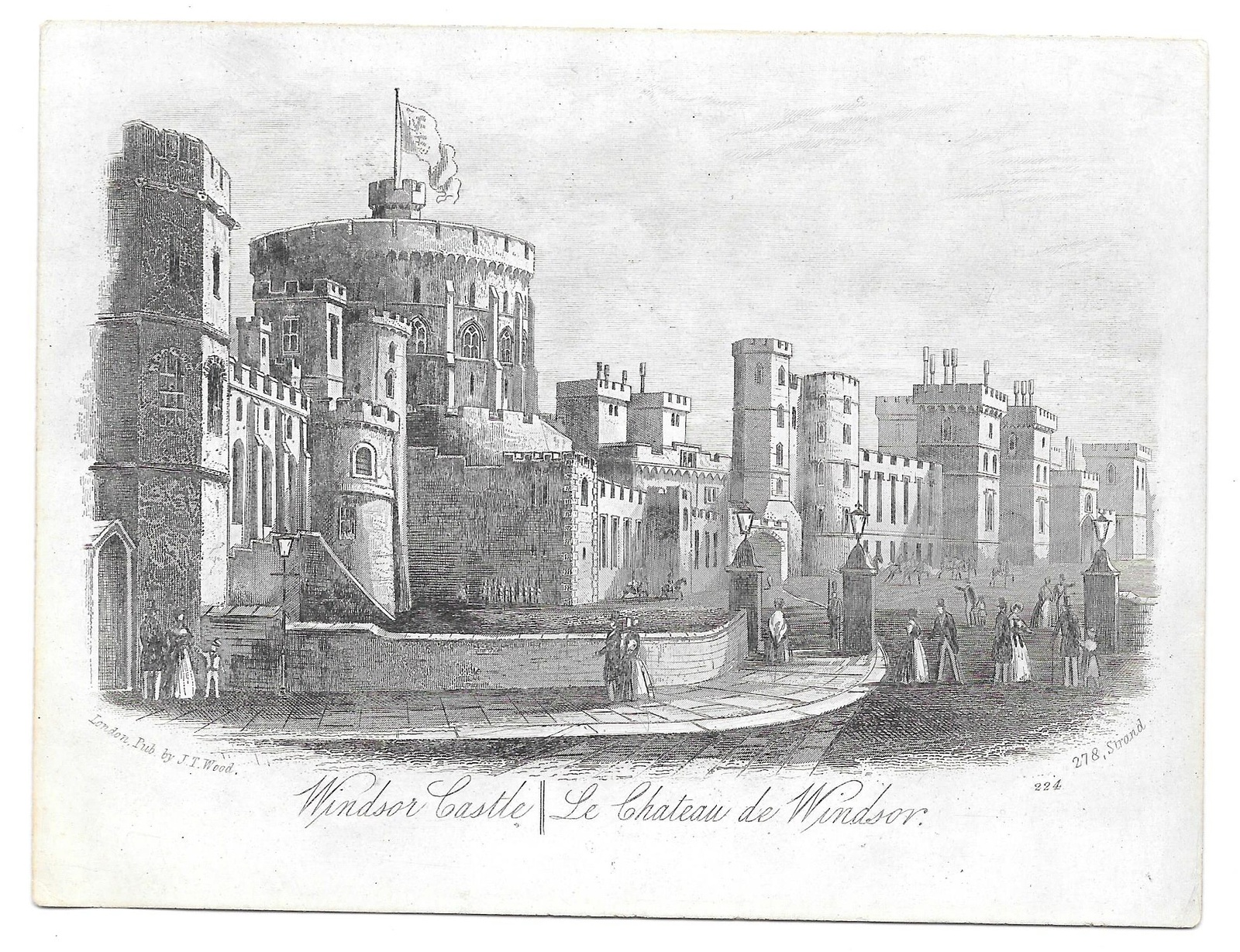 Primary image for Windsor Castle Steel LIne Engraving 1851 J T Wood Views of London Print