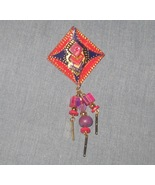 Red Purple Gold Dangle Brooch Pin - signed - ha... - $6.50