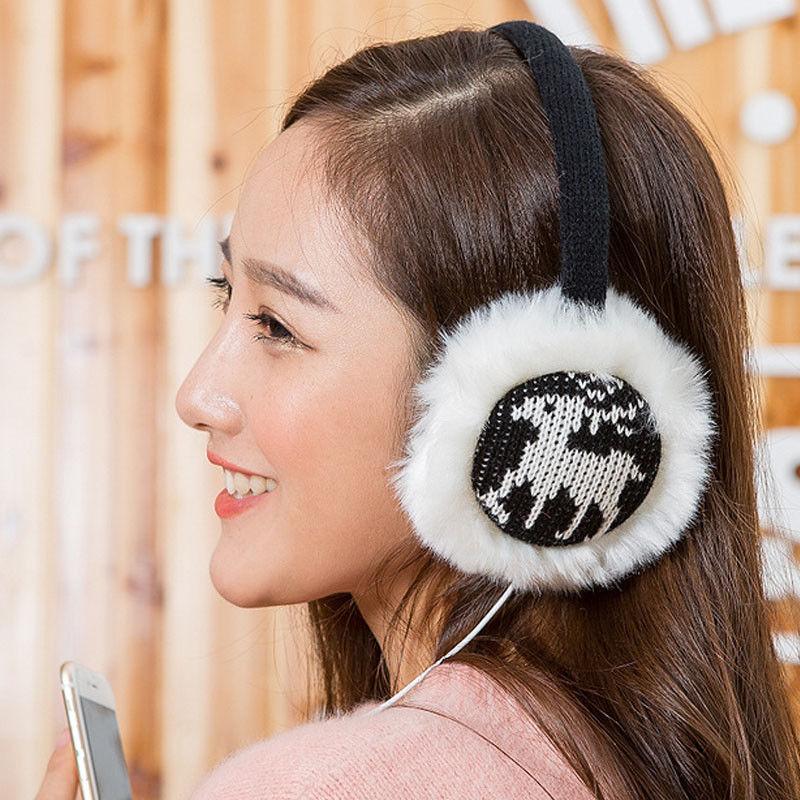 Female Music Earmuffs Warmer Winter Women Warm Music Muffs Headphones Earmuffs