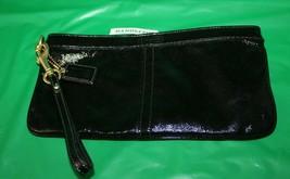 Coach Shiny Black Zip Top Wristlet Purse With Keychain - $24.74