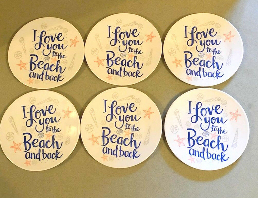 "Melamine Tidbit Appetizer Dessert Plates 6"" Set of 6 Beach House Starfish Shells"