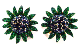 Vintage Avon Green Blue Rhinestone Daisy Clip Earrings Signed Numbered  - $12.00