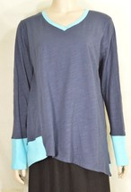 Fresh Produce top S knit long sleeve asymmetrical two tone blue hi lo 27 - $39.59