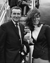 Patrick Macnee and Diana Rigg in The Avengers posing by Pan Am aircraft London A - $69.99