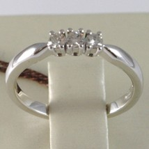 WHITE GOLD RING 750 18K, TRILOGY 3 DIAMONDS CARAT TOTAL 0.12, STEM SQUARE image 2