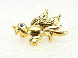 Vintage Costume Jewelry, Small Gold Tone Bird Brooch, Pin, Blue Eye PIN101 - $7.79