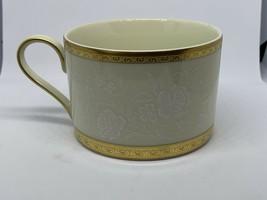 Mikasa Antique Lace L5531 Flat Cup Gold Encrusted White Floral Lace Rim 8 oz - $11.87