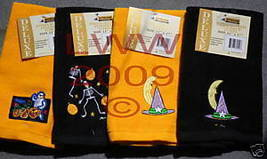 4 Halloween Embroidered Black & orange Fingertip Towels  - $11.99