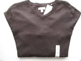 Sonoma Fine Gauge Solid V-Neck Long SLV Men' Sweater DK COYOT M MSRP $45  - $19.38