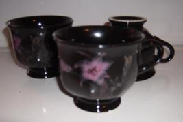 Mikasa Ebony Meadow Footed Cups Set of 3 Pink&Yellow Floral on Black - $22.00