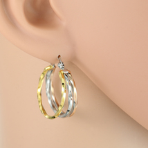 Unique Tri-Color Silver, Gold & Rose Tone Hoop Earrings- United Elegance - $14.99