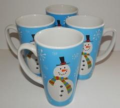 4 Christmas Stoneware Tall Large Mugs Cups Snow Flake Snowman Design Blu... - $794,30 MXN