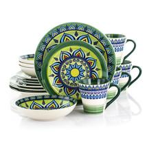 Elama Zen Green Mozaik 16 Piece Luxurious Stoneware Dinnerware with Comp... - $80.18
