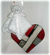 Blankets & Beyond Teddy Bear White Rose Minky Security Blanket Lovey Bra... - $24.69