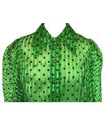 60s Shamrock Green Black Flock Raised Polka Dot Sheer Chiffon Button Dow... - $41.00