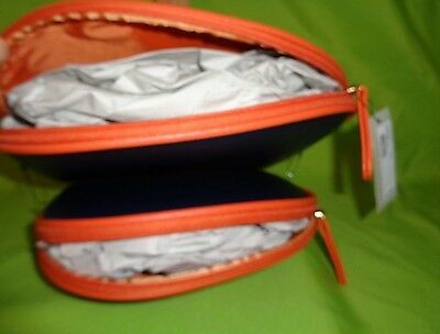 Kenneth Cole BLUE ORANGE OVAL REACTION NEW Travel HANDBAG Makeup Bag PURSE
