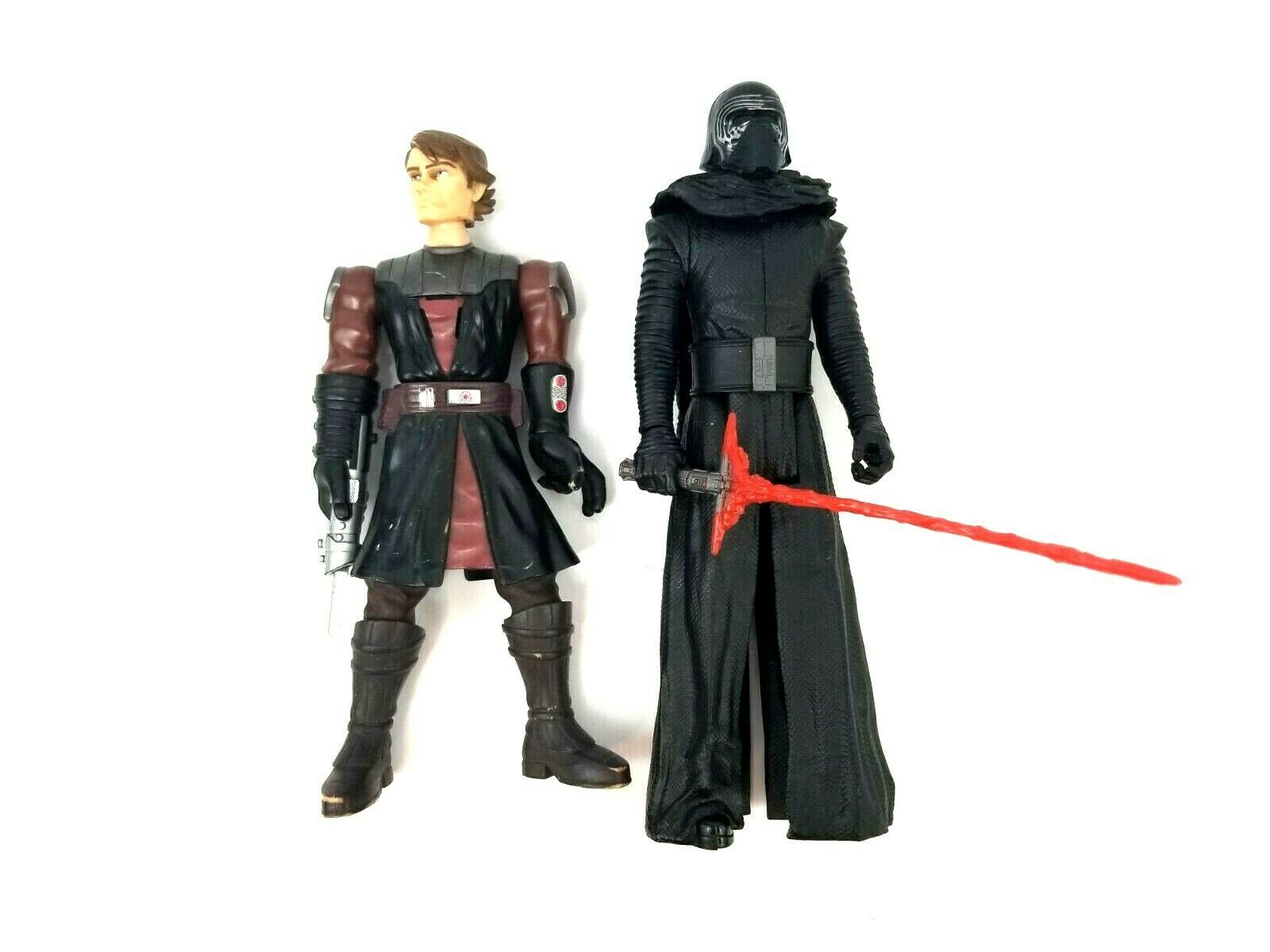 Lot of 2 Star Wars Action Figures with Swords One is a Talking Figure Used