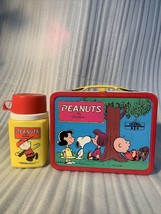 Vintage Peanuts Red Metal 1973 Lunchbox W/Thermos Psychiatric help 5 cent - $99.99