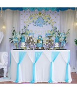 14ft Tutu Table Skirt Decoration Blue and White Tulle Table Skirt for Ba... - $35.88