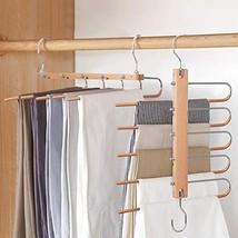 BILLKAQ Magic Pants Hangers, Space Saving Closet Hangers 5 Layers 2 Uses... - $24.40