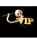 VIP Tie tack - Very Important Person pin - Vintage tie tack with chain -... - $85.00