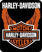 HARLEY-DAVIDSON FULL/QUEEN SIZE ORANGE WINGS BIG SOFT WARM BEDROOM BED B... - $65.95