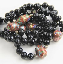 "30"" VINTAGE Jewelry CHINESE EXPORT CLOISONNE & BLACK GLASS BEAD NECKLACE - $125.00"