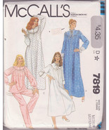 McCalls 7819, Women Nightgowns, Pajamas PJs Nightwear Sewing Pattern Siz... - $12.00