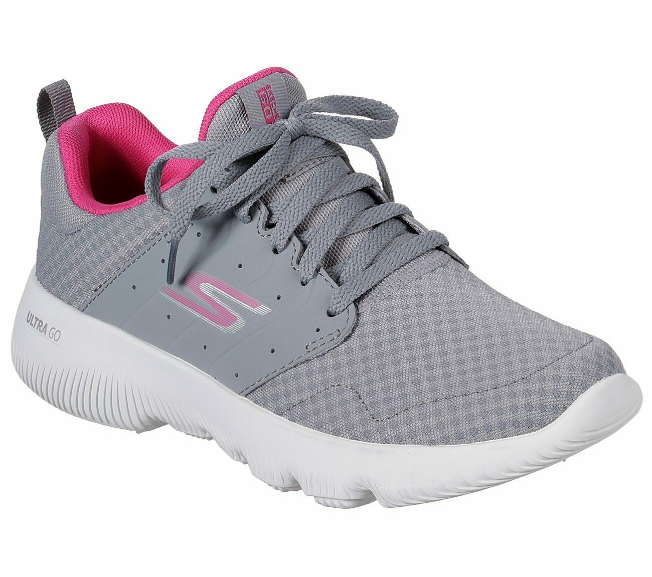 Primary image for Skechers Gray Pink shoes Women's Sport Go Run Athletic Mesh Comfort Casual 15162