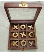 ROSE WOOD TIC TAC TOE GAME BRASS & WOOD COINS 12.5X12.5 CM, GIFT - $21.29