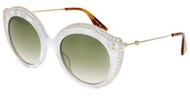 $790 NEW GUCCI Crystal Cat Eye GG0214S Sunglasses White/Gold/Green Gradient - $297.97