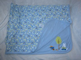 Vintage Gymboree Blue Easter Bunny Tree HOP Baby Blanket Carrot Wheelbar... - $59.38