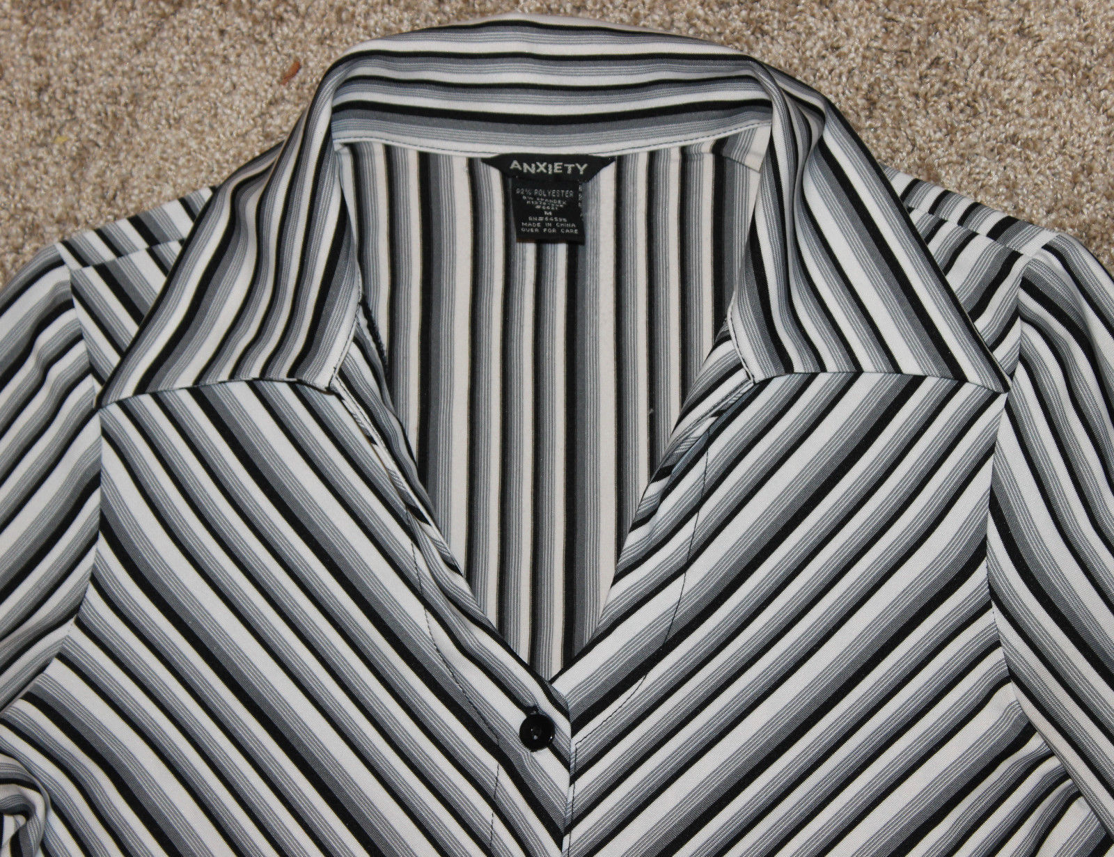 ANXIETY BLACK WHITE GRAY STRIPE FITTED BLOUSE TOP BUTTON SHIRT CAREER  M S 6 image 3