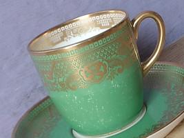 Antique 1930's Cauldon china green and gold art deco demitasse tea cup teacup - $38.61