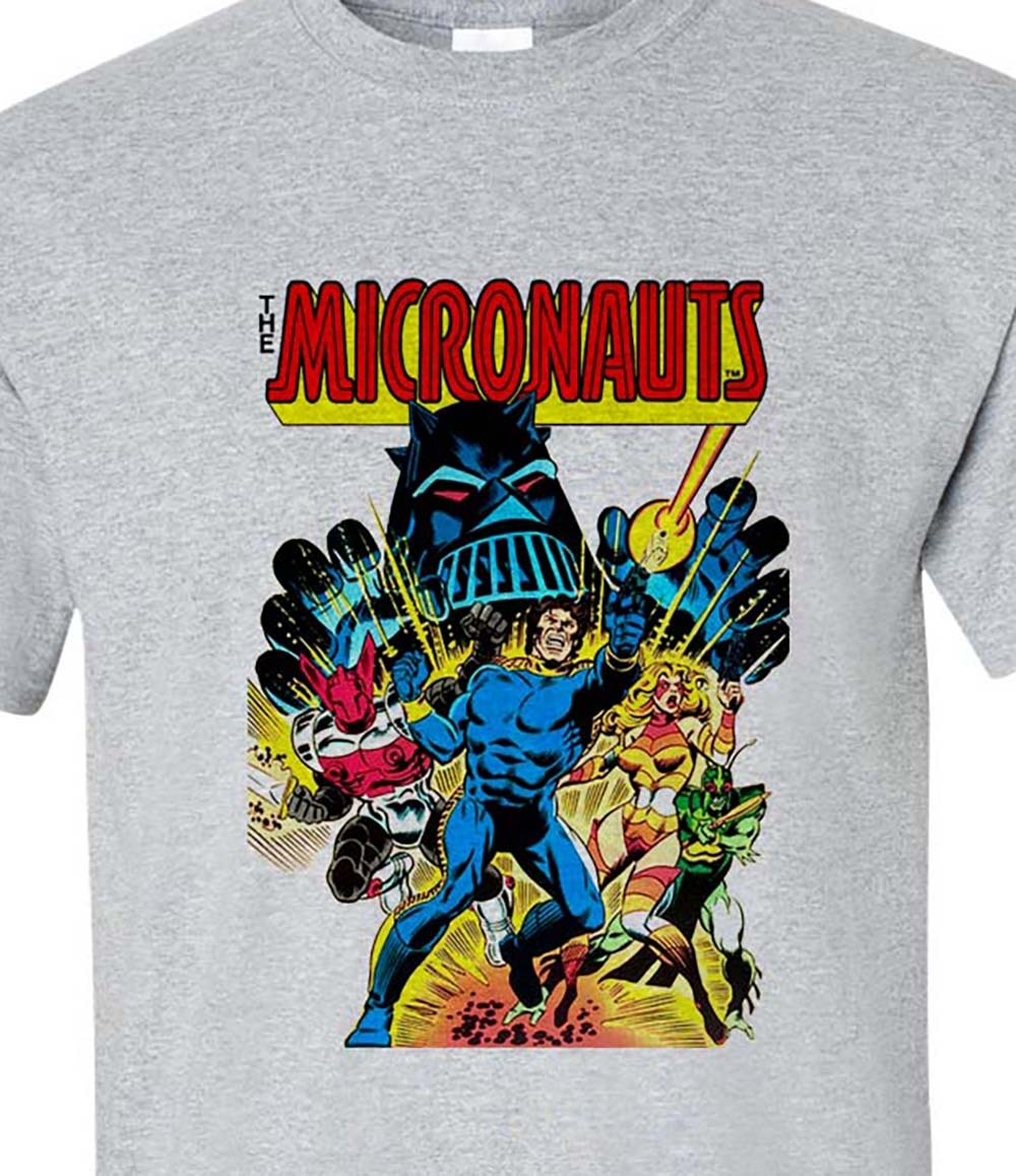 E micronauts t shirt retro 1870s marvel comic books graphic tee graphic tee for sale online gray