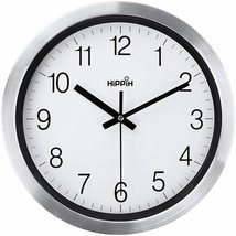"Silver Sheen 12"" Metal Round Decor Wall Clock, Silent Non-Ticking, Quart... - $19.69"