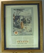1928 Texaco Gasoline Magazine Ad Wherever Summer Trails May Lead in Oak Frame - $18.13