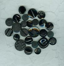 25 Vintage Black Glass Czech Buttons Friendship Bracelet Crafts - $12.99